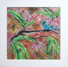 Tropical bird in lily garden Sylvia Sandwith
